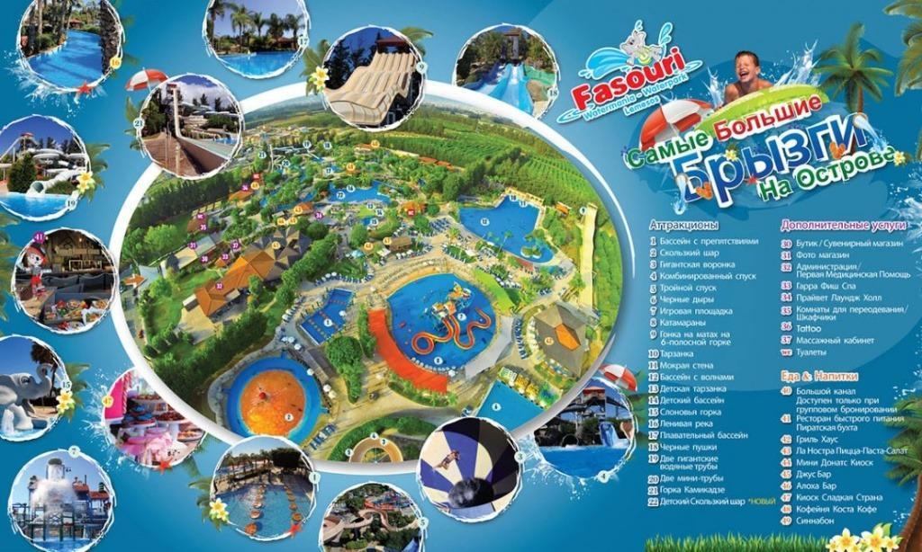 План аквапарка Фасури в Лимассол на Кипре